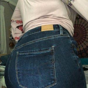 high rise dark wash jeans